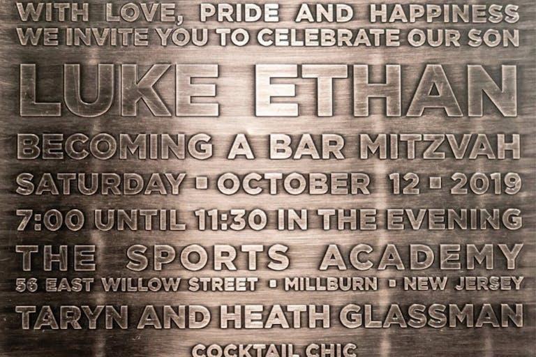 Gun Metal Bar Mitzvah Invite | PartySlate