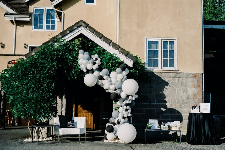 Black & White Modern Drive By Graduation Parade & Celebratory Family Dinner