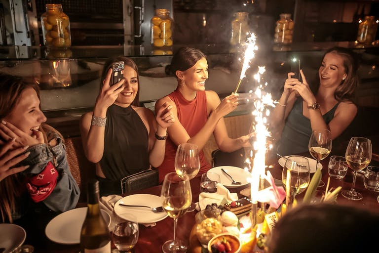 Four Girlfriends Celebrate With Cold Fire Works at Marion Miami's Private Dining Space | PartySlate