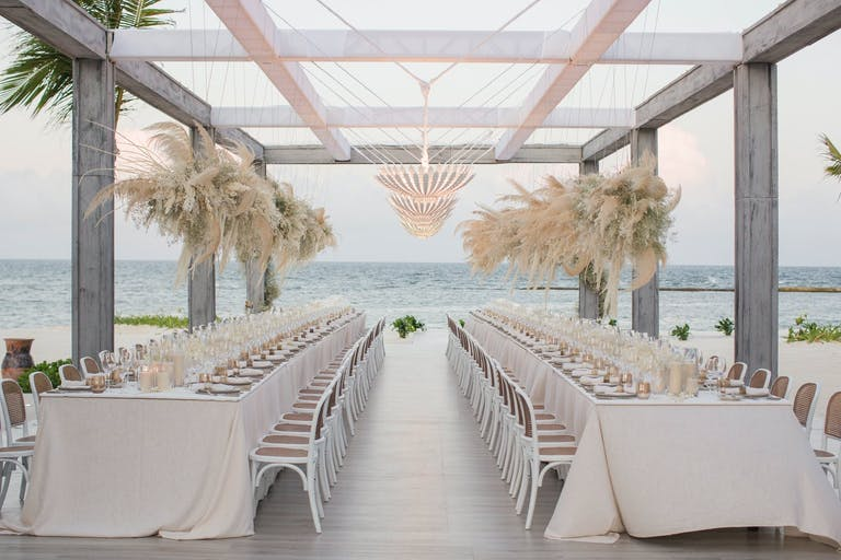 Free-Floating Pampas Grass Beach Wedding Centerpiece   PartySlate