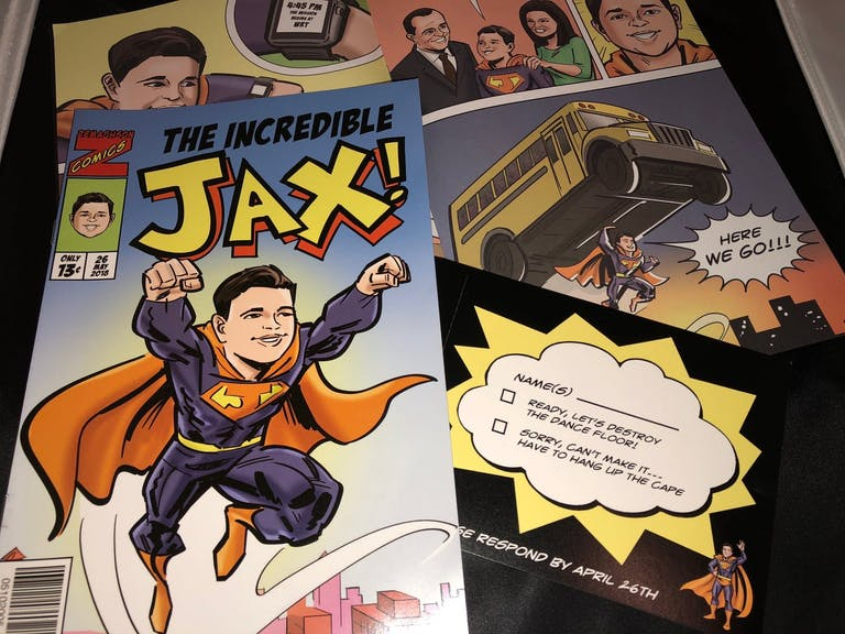 Superhero-Themed Invitation Suite for Bar Mitzvah | PartySlate