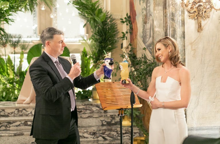 Father and Bride Toast With Tropical Parrot Mugs   PartySlate