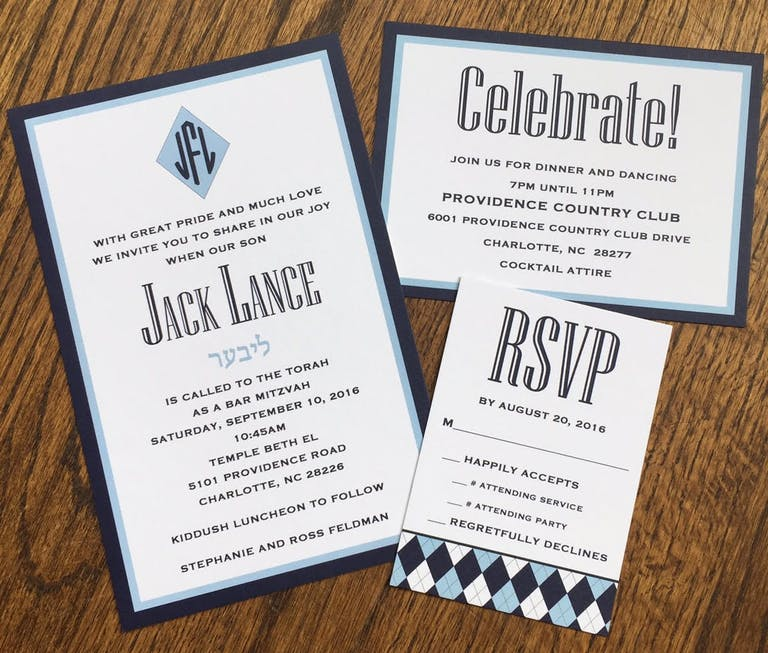 Bar Mitzvah Invitations in Blue-and-White Color Palette | PartySlate