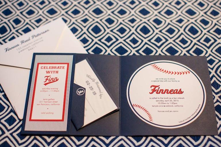 Baseball-Theme Invitation With Side Pocket | PartySlate