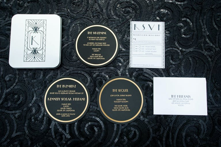 Old Hollywood Glam Art Deco-Style Bar Mitzvah Invitation Suite | PartySlate