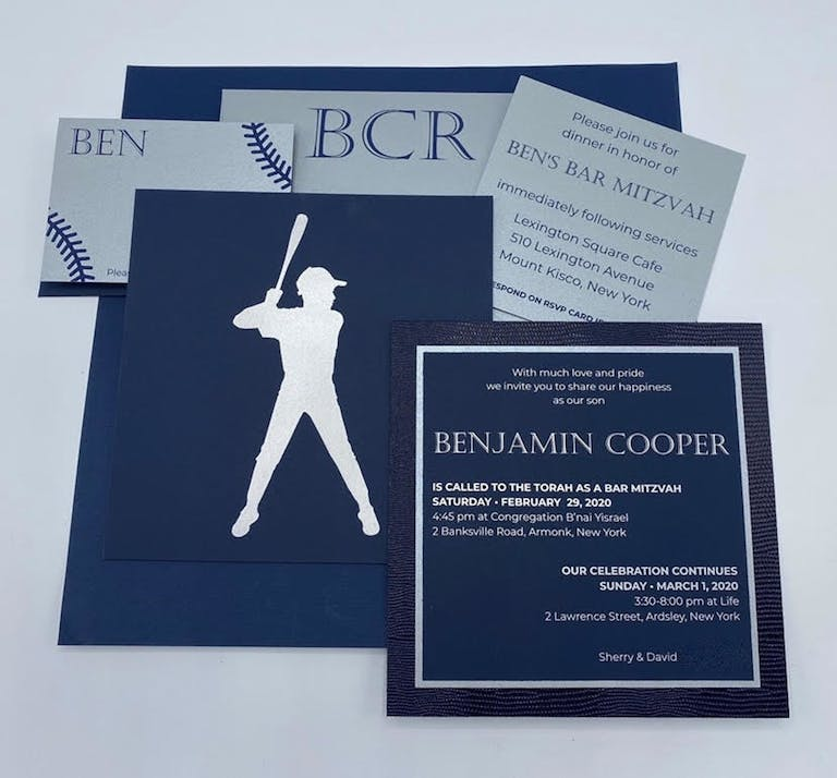 Baseball-Theme Blue and White Bar Mitzvah Invitation Suite | PartySlate