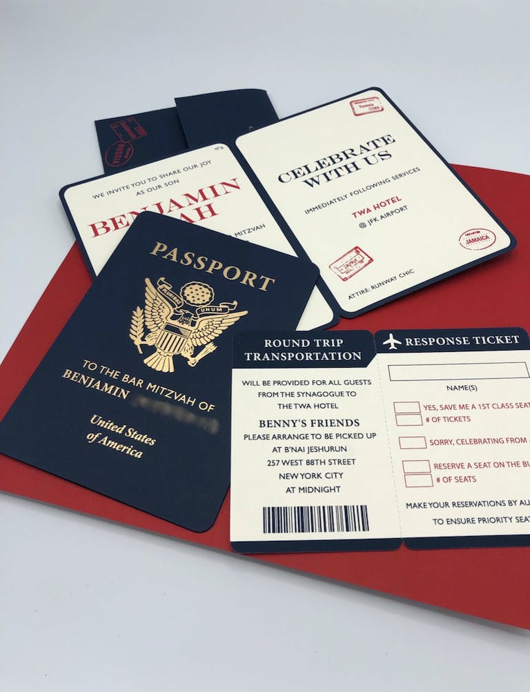 Passport-Themed Bar Mitzvah Invite for Travel-Themed Party | PartySlate