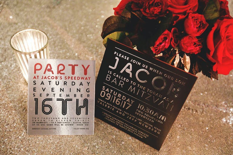 Metallic Silver and Black Bar Mitzvah Invites | PartySlate