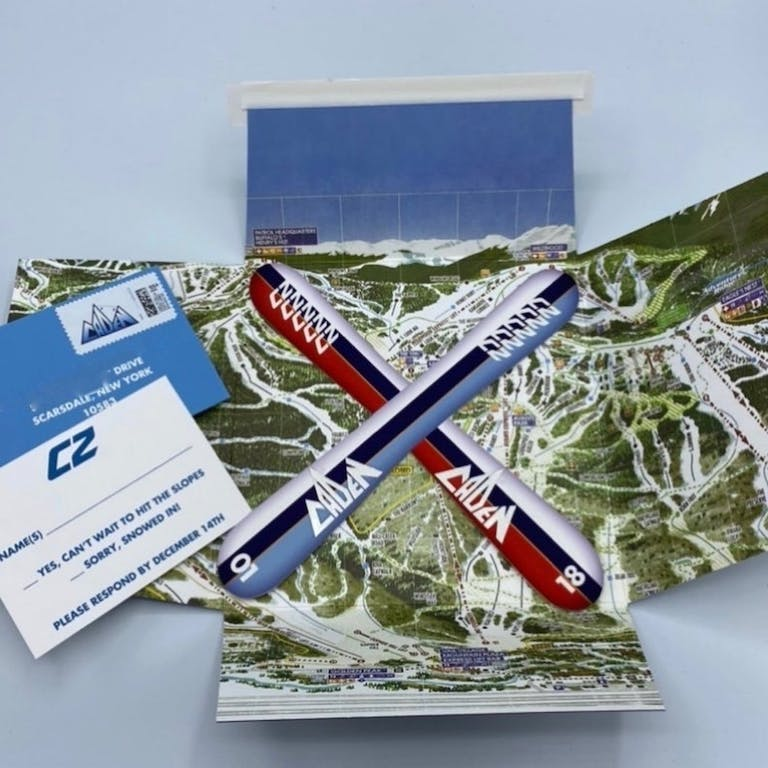 Ski-Themed Invitation With Topographic Map for Bar Mitzvah Party | PartySlate