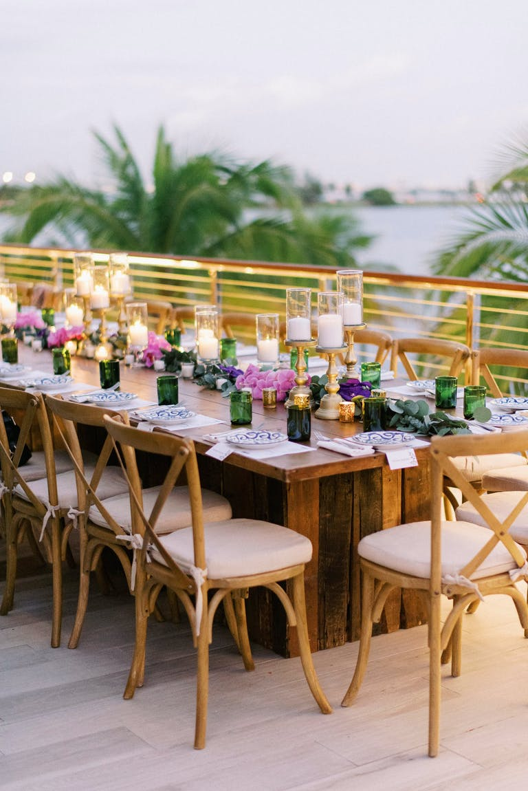 Outdoor Intimate Wedding With Green, Pink, and Purple Tablescape Décor at Amara at Paraiso in Edgewater Miami | PartySlate