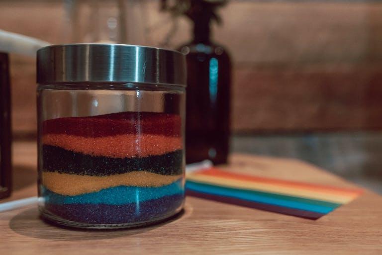 Rainbow Wedding Sand Ceremony Jar for Same-Sex Wedding   PartySlate