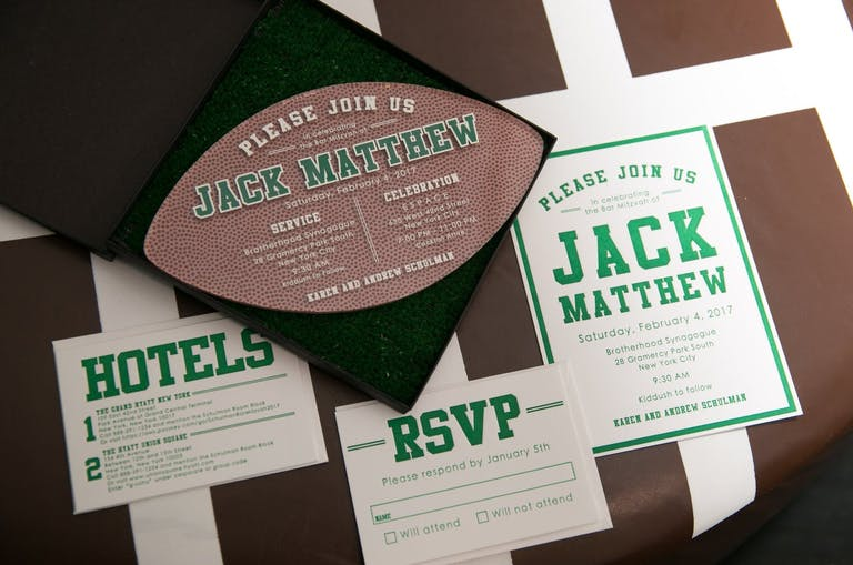Football-Theme Invitation for Bar Mitzvah Party | PartySlate