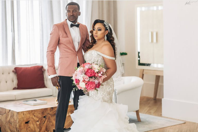 Bride and Groom Portrait with Makeup Done Done by Sarsha Lépeche Beauty | PartySlate