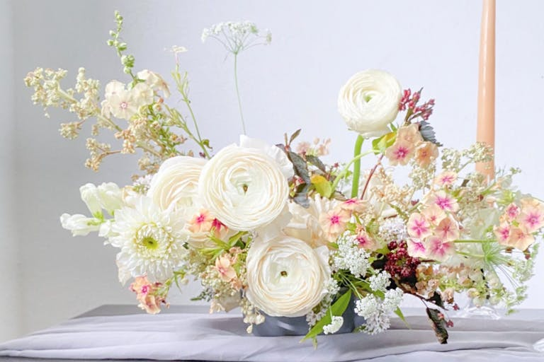 Elegant White Floral Arrangement With hInts of Pink | PartySlate