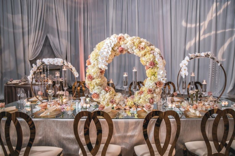 Wedding Reception With Silvery Gray Drapery | PartySlate