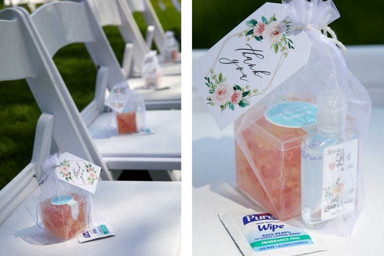 White Wedding Ceremony Seating With Party Favor on Each Seat | PartySlate