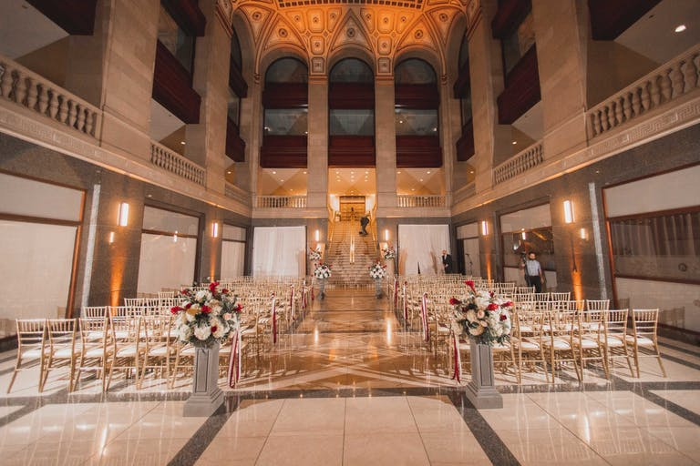 Minimalist Wedding Ceremony Set in The Main Ballroom at The Builders BLDG in Chicago, IL   PartySate