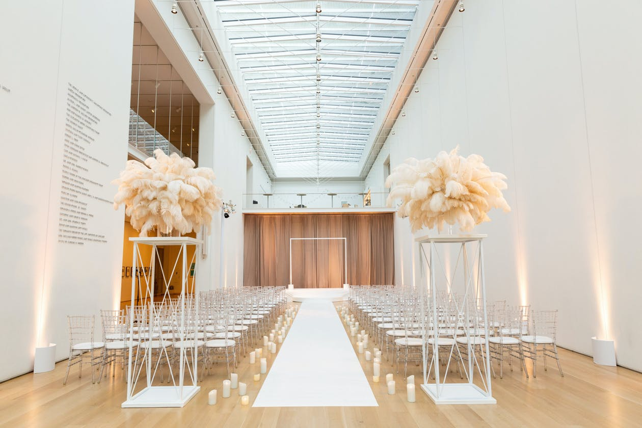 Boho-Chic Wedding Ceremony in Neutral Tones at The Art Institute of Chicago, a Unique Chicago Wedding Venue   PartySlate