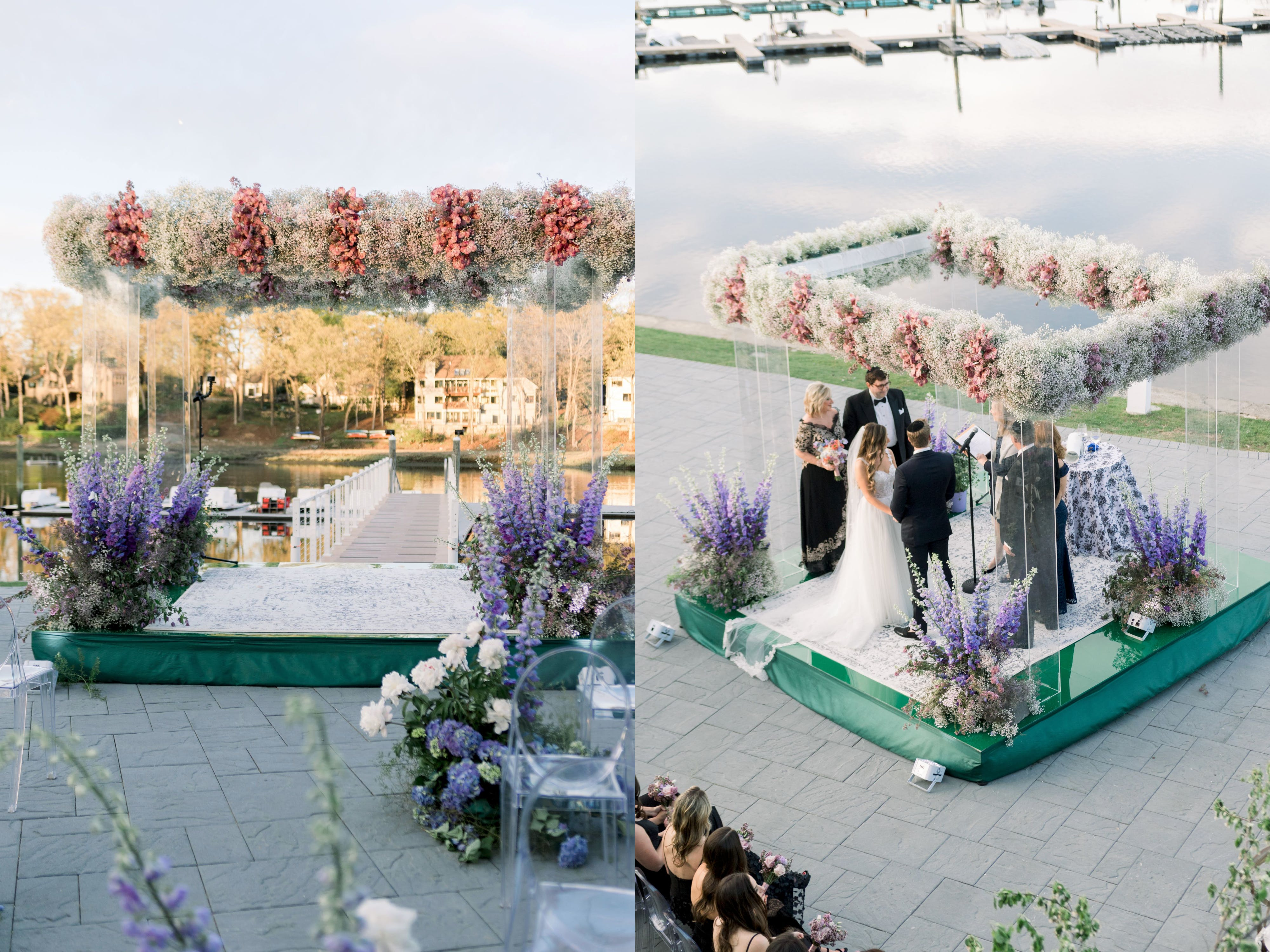 Lucite Wedding Chuppah Crowned With Baby's Breath and Interspersed Pink Blooms   PartySlate