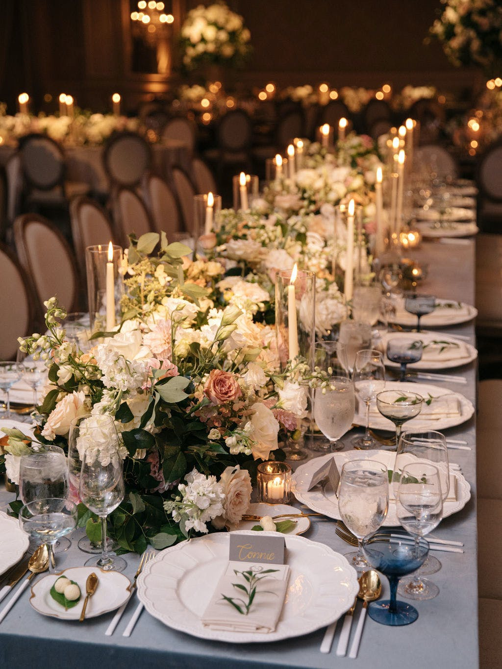 Elegant Floral Wedding Tablescape at Four Seasons Hotel Chicago Planned by Bliss Events Chicago   PartySlate