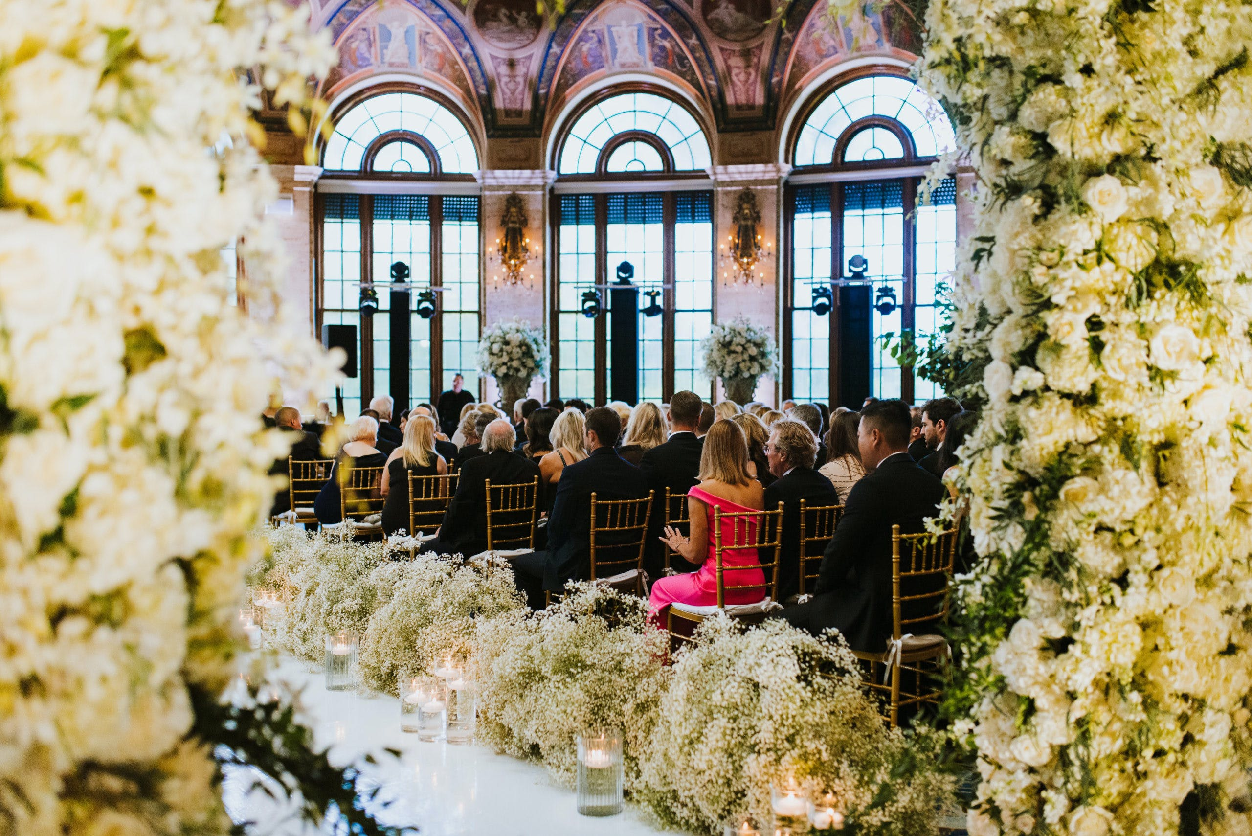 Wedding Aisle Lined With Baby's Breath   PartySlate