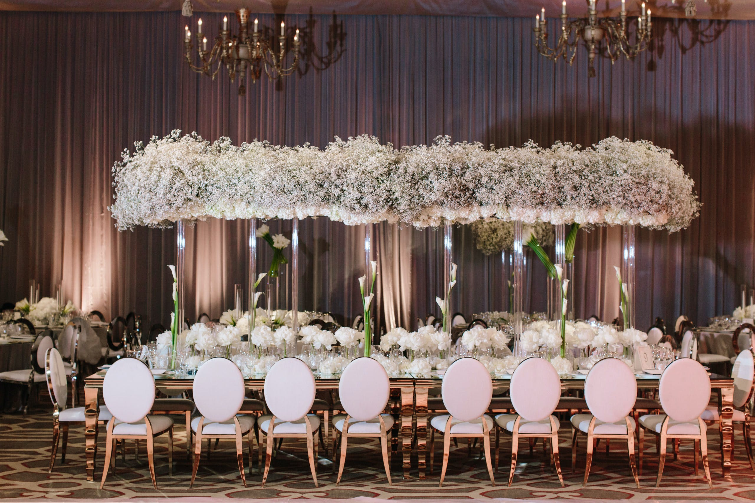 Modern, All-White Wedding Tablescape with Elevated Baby's Breath Centerpieces   PartySlate