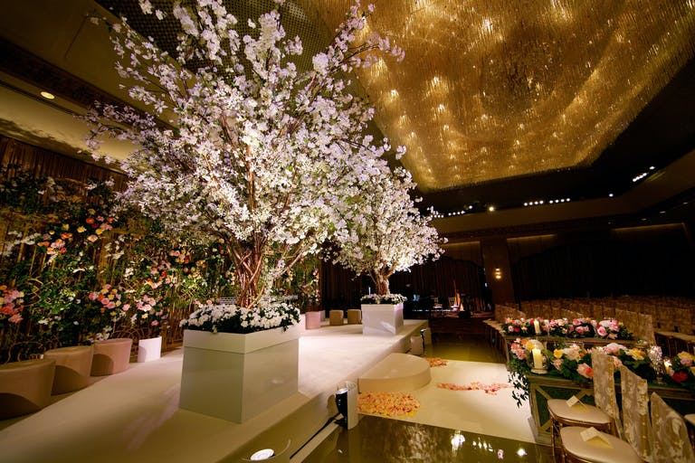 Opulent Wedding Ceremony With White Petaled Trees at The Ritz-Carlton, Chicago   PartySlate