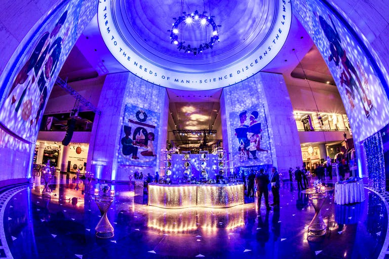 New Year's Eve Holiday Party With Soft Blue Uplighting at Museum Science and Industry, Chicago   PartySlate
