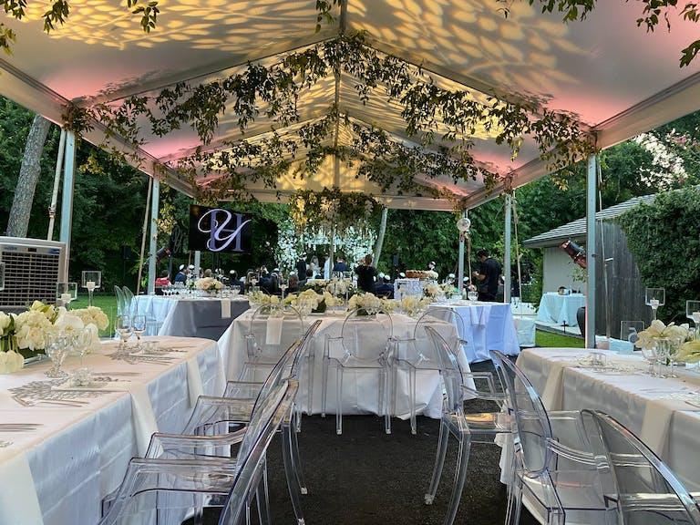 Small Backyard Wedding Tent Reception With Creative Lighting | PartySlate