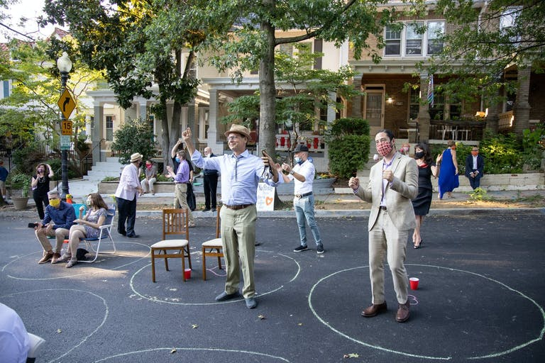 Social-Distance Wedding With StreetSide Seating and Dancing in Designated Chalk Circles | PartySlate