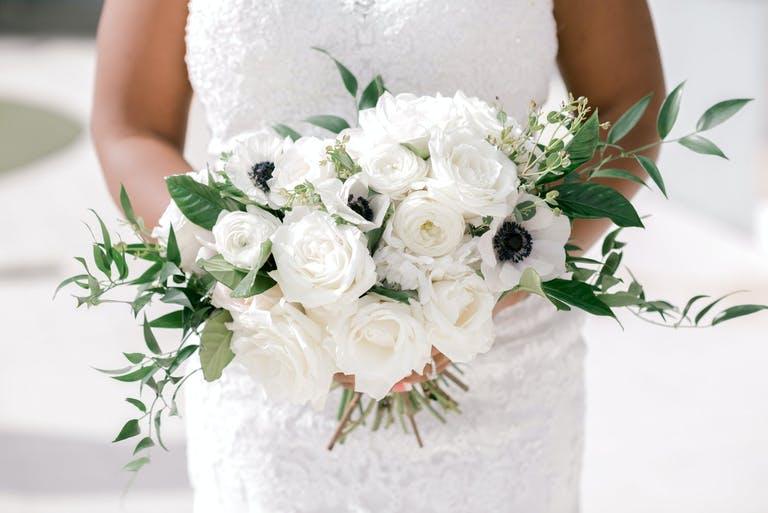 Wedding Bouquet With White Anemone and White Roses | PartySlate