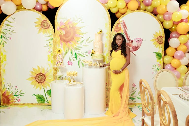 Mother-to-Be at Yellow-Themed Baby Shower | PartySlate