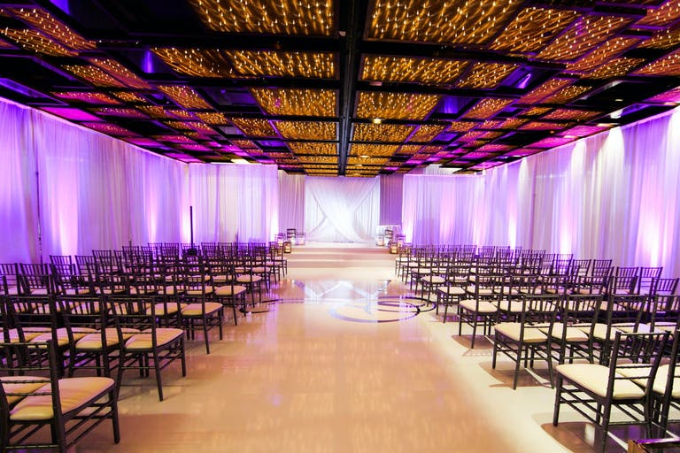 Modern and Minimalist Wedding Ceremony at W South Beach with Creative Lighting | PartySlate