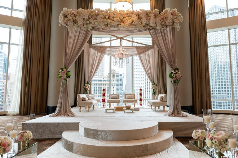 Wedding Mandap With Pale Pink Drapery at Trump International Hotel & Tower Chicago
