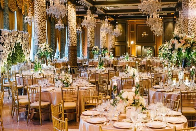 Wedding Reception at The Drake Hotel in Chicago With Abundant Greenery   PartySlate
