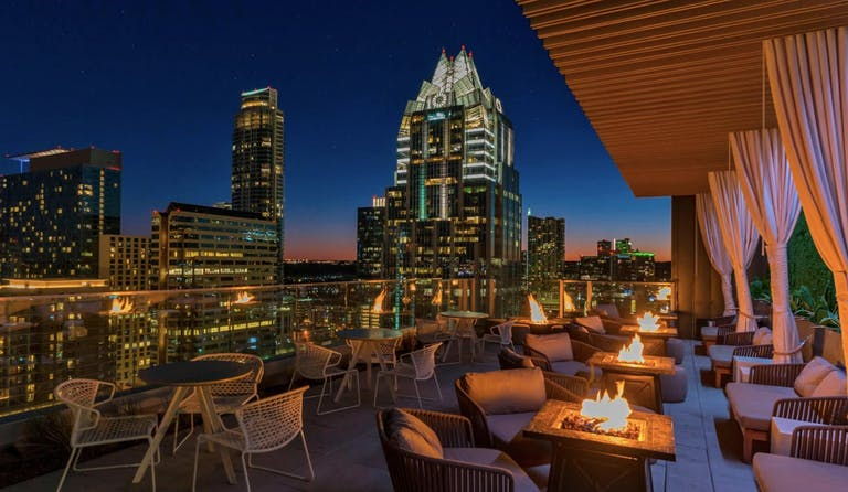 The Westin Austin Downtown Rooftop Lounge With Fire Pits and City Views   PartySlate