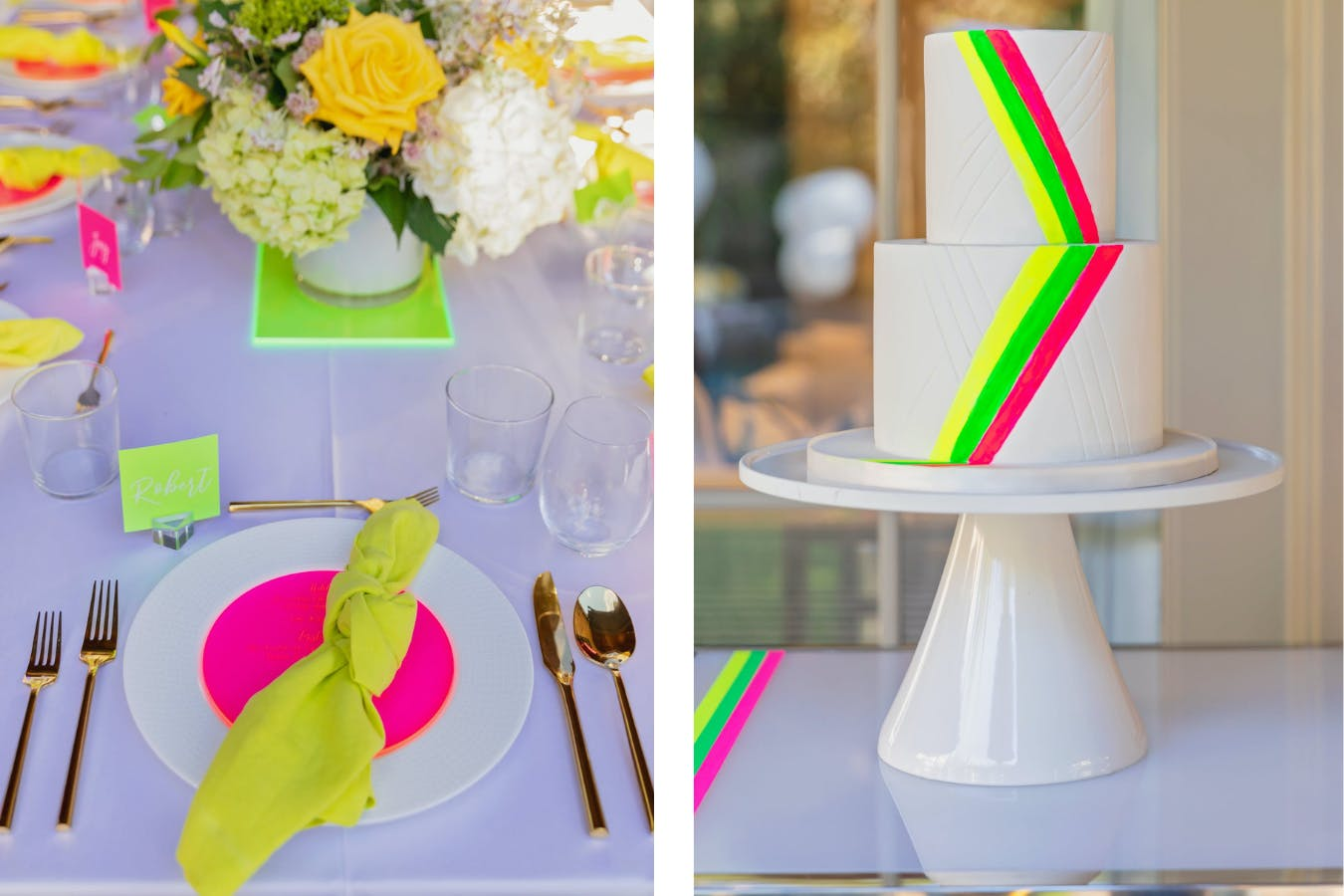Neon-Themed Birthday Party Cake and Place Setting | PartySlate