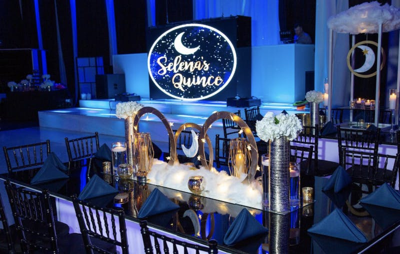 Celestial-Inspired Quinceañera in Blue and Gold Color Palette With Moon Signage | PartySlate