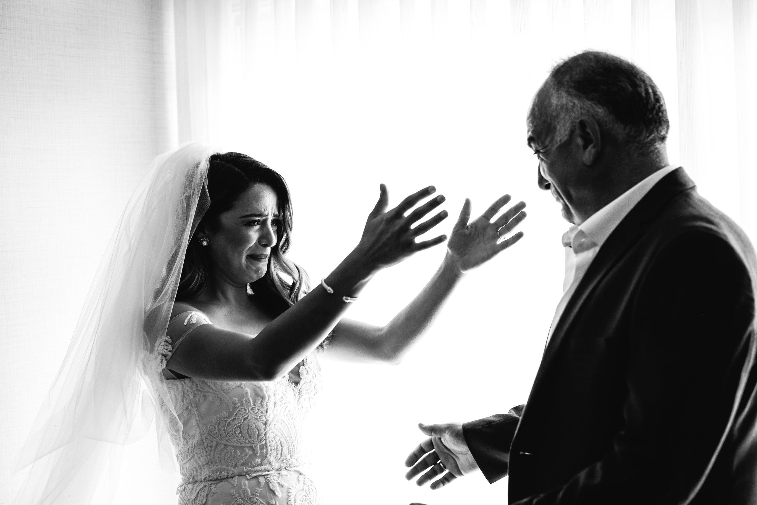 Dad seeing bride for first time, both have tears in their eyes   PartySlate