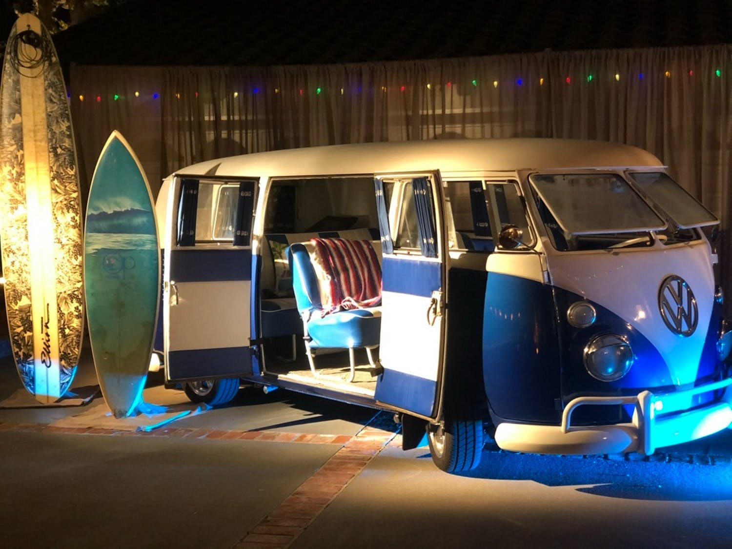 Surfer Bus Transformed into Lounge Area and Photo Op for Small Birthday Party | PartySlate