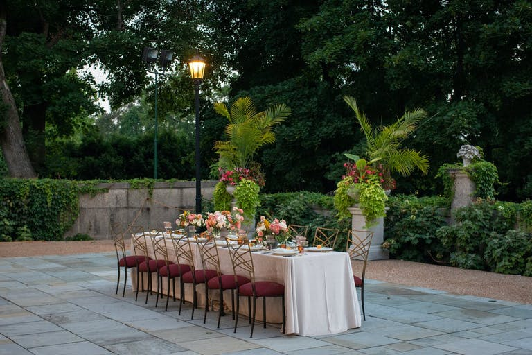 Intimate Outdoor Wedding Tablescape at Cuneo Mansion & Gardens in Libertyville, IL | PartySlate