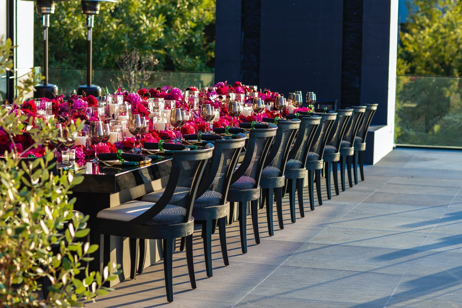 Intimate Birthday Tablescape With Hot Pink Florals and Cuisine | PartySlate