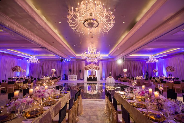 Glamorous Wedding Reception with Purple Uplighting at The St. Regis Atlanta in Atlanta, GA   PartySlate