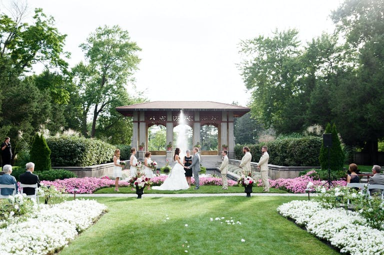 Outdoor Wedding Ceremony at Armour House Mansion & Gardens in Lake Forest, IL | PartySlate
