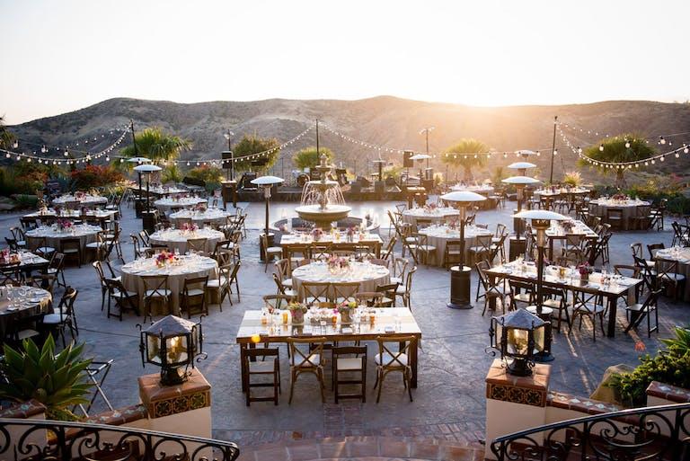 Outdoor Wedding Reception at The Villa at Hummingbird Nest Ranch in Los Angles, CA   PartySlate