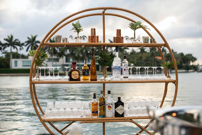 Circular Bar Open Shelving With Lakeside Views | PartySlate