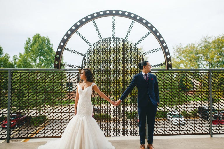 Bride and Groom's First Look Outdoors at The Haight in Elgin, IL | PartySlate