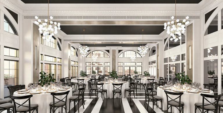 The Penthouse Ballroom with floor-to-ceiling windows and modern chandeliers at The Penthouse Hyde Park   PartySlate