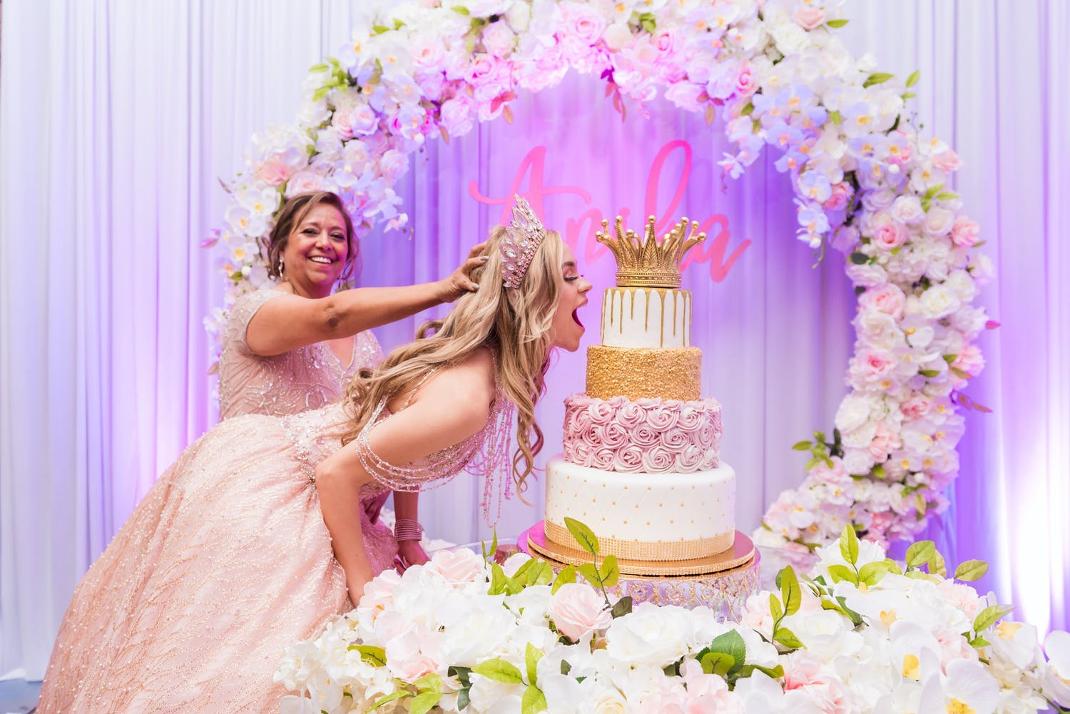 Pink Quinceanera Theme With Mother, Daughter,and Quince Cake | PartySlate