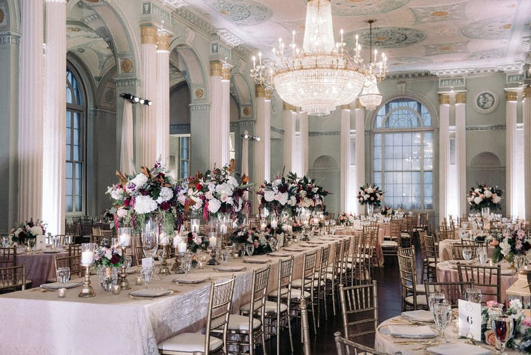 Wedding Reception With Floral-Filled Tablescapes at The Biltmore Ballrooms in Atlanta, GA   PartySlate